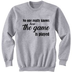 No One Really Knows How the Game Is Played Hamilton Sweatshirt... ($25) ❤ liked on Polyvore featuring tops, hoodies, sweatshirts, black, women's clothing, crew-neck sweatshirts, crew shirt, crewneck sweatshirt, long length shirts and long tops
