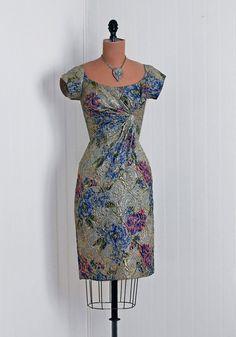 1950's Vintage Ceil Chapman Designer-Couture Metallic Floral-Garden Silk-Lame Asymmetric Ruched-Side Hourglass Pencil-Wiggle Cocktail Dress
