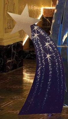 cardboard standees have detailed mural stars that create a celestial arch if you put them together.The cardboard standees have detailed mural stars that create a celestial arch if you put them together. Vbs Themes, Dance Themes, Prom Themes, Starry Night Prom, Starry Nights, Night To Shine, Star Decorations, Space Theme Decorations, Galaxy Theme