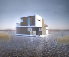 Floating House That Can be Divided Down the Middle