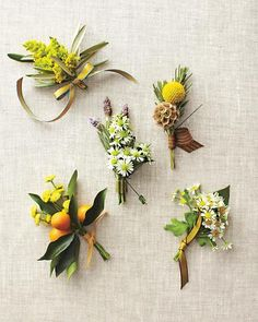 Boutonnieres  Layer cuttings of filler flowers, such as goldenrod and mimosa, with herbs and fruit to make boutonnieres. Carry the look to your reception by turning a trio of bowls into a matching centerpiece.
