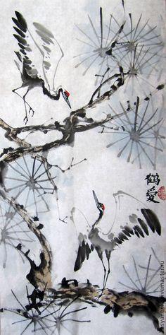 Купить Журавлики. Китайская живопись - разноцветный, журавли, китайская живопись, любовь, купить картину, гохуа
