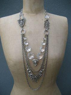 Empress  A Vintage Asymmetrical Rhinestone and by rebecca3030