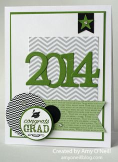 handmde graduation card ... die cut numbers and lots of punched shapes ... black, white and gray with green ... fun card for a male yet not all frilly ... luv the grouping of circles with the sentiment .. Stampin'Up!