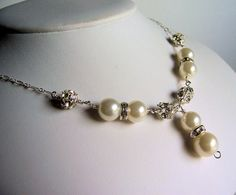 Ivory pearl and crystal y necklace bling necklace by starrydreams, $65.00