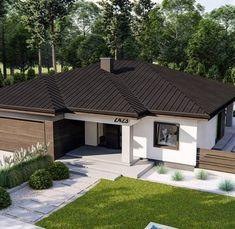 Modern Bungalow House, Bungalow House Plans, Modern House Plans, Beautiful House Plans, Beautiful Homes, House Plans For Sale, Contemporary Building, Classic Living Room, Facade House