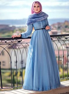 Blue Chiffon Hijab Evening Dress