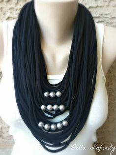 Bella Infinity Beaded Scarf Black UpCycled by BellaInfinityScarves, $28.00  www.facebook.com/infinity0512