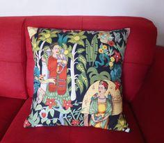 Frida Kahlo Cushion Cover  Black  45 x 45cms  by MesmerizingBlue