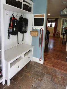 Golden Boys and Me: Mudroom {repurposed Ikea Hemnes bookshelves} - Like the floor she says its from Lowes - Marazzi, color is noce. The # printed on the back of the tile is UB4N.