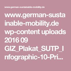www.german-sustainable-mobility.de wp-content uploads 2016 09 GIZ_Plakat_SUTP_Infographic-10-Principles-for-Sustainable_Urban-Transport_sk.pdf Sustainability, Transportation, Infographic, German, Pdf, Content, Deutsch, Infographics, German Language