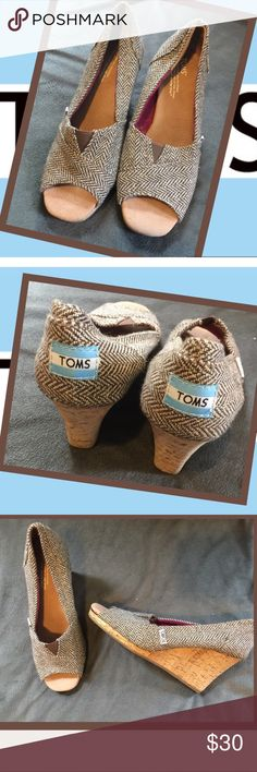 Toms cork wedges, metallic harringbone, 7.5 These beauties were worn like ONCE and my feetsies are simply too big! Comes w/original bag. I just noticed that in a certain light the (faux) cork is imperfect/rippling a bit. 😩 Only sign of wear (see 6th photo) Hard to notice this (see first 4 pics) but now that I saw it I cannot sell w/o disclosure. I'm VERY open to offers on these because shoes want to be worn! *model photos courtesy another posher (who gave me permission.) Happy shopping…