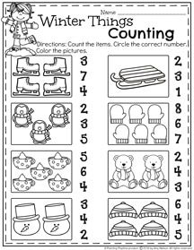Preschool Counting Worksheets for winter.
