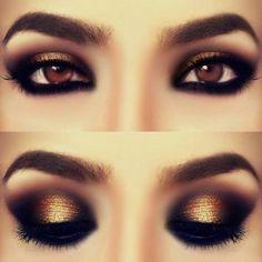 Fantástico maquillaje de ojos con smokey eye en tonos dorados, busca más ideas de maquillaje en http://www.1001consejos.com/