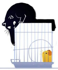 Jean Tuttle ( The Daily Cat Doodle) — Trapped I Love Cats, Crazy Cats, Black Cat Art, Black Cats, Cat Doodle, Pumas, Cat Paws, Cat Drawing, Illustrations