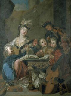 ♪ The Musical Arts ♪ music musician paintings - Jean Raoux   The music lesson, 1717 - Pinterest