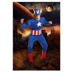 Disfraces Personajes hombre   Disfraz de héroe americano. Contiene buzo de cuerpo entero musculado y máscara/casco. Talla M/L. 23,95€ #heroeamericano #disfrazheroeamericano #disfraz #superheroe #disfrazpersonaje #disfraces