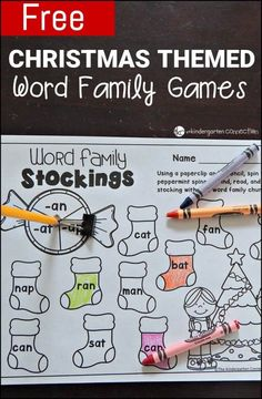 Christmas themed word family fun! These word family games are sure to be a hit this season! #kidschristmas #christmasprintable #freeprintable #wordfamilies #kindergarten #firstgrade