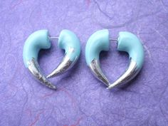 Silver Tipped Robins Egg Blue Fake Gauge Earring  by deceptions, $19.00