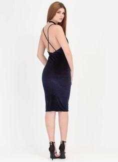 To A T-Strap Velvet Choker Midi Dress NAVY