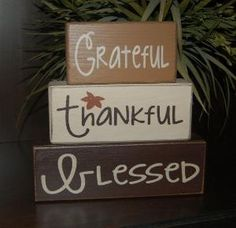 Grateful Thankful Blessed Primitive Wood Sign Blocks Distressed Word Stacking Blocks Home by nettie