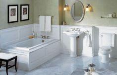 Bathroom: gorgeous bathroom renovation on a budget decoration using Marble Bathroom Floor, Bathroom Styling, Wainscoting Bathroom, Simple Bathroom, Bathroom Renovations, Bathrooms Remodel, Bathroom Design, White Master Bathroom, Tile Bathroom