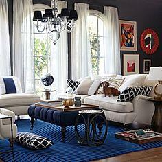 Spring 2013 #serenaandlily  Love this room!  Dark walls, carpet, bright white curtains and furniture... sigh!