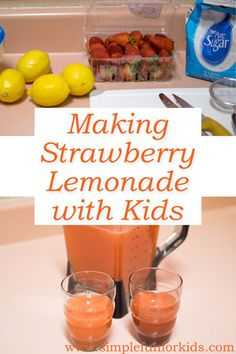 Pinner's Note: swap the hybrid Lemon for a Key lime. Make strawberry lemonade with kids: Use whole foods, have fun in the kitchen, and enjoy a yummy refreshment! Kids Cooking Activities, Preschool Cooking, Kids Cooking Recipes, Cooking Classes For Kids, Kids Meals, Cooking Tips, Whole Food Recipes, Children Cooking, Cooking Food