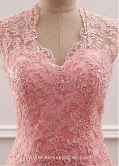 Magbridal Fantastic Tulle & Chiffon V-neck Neckline Mermaid Mother Of The Bride Dress With Beaded Lace Appliques Pretty Prom Dresses, Pink Prom Dresses, Elegant Dresses, Cute Dresses, Girls Dresses, Wedding Dresses, Lace Dress Styles, Sleeves Designs For Dresses, Indian Gowns Dresses