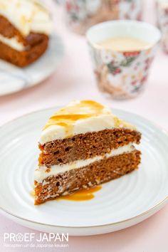 Worteltaart met miso karamel | Proef Japan Desserts, Cheesecake, Japan, Food, Tailgate Desserts, Meal, Dessert, Cheese Cakes, Eten