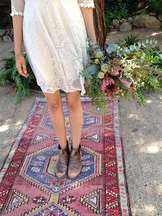A Persian Rug and an Embroidered Dress // Behind the Scenes: The Faerie-Tale Wedding… Reimagined | JohnnyWas.com Blog #bohobride