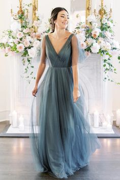 Dusty Blue Bridesmaid Dresses, Affordable Bridesmaid Dresses, Bridesmaid Dress Styles, Wedding Bridesmaid Dresses, Dusty Blue Dress, Wedding Dress Blue, Colorful Wedding Dresses, Wedding Dress Separates, Navy Blue Bridesmaid Dresses