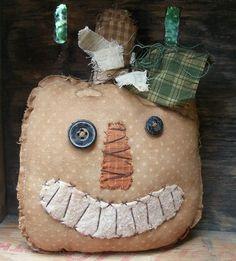 Items similar to Halloween Raggedy Primitive Gold Jack O' Lantern shelf tuck on Etsy Primitive Fall Crafts, Fall Wood Crafts, Fall Halloween, Halloween Crafts, Fabric Pumpkins, Wood Pumpkins, Fabric Crafts, Sewing Crafts, Primitive Doll Patterns