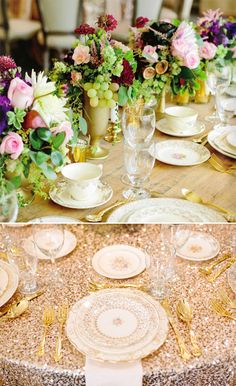 #sequined tablecloth and #weddingcenterpieces filled with grapes and florals. So pretty for a #winecountrywedding