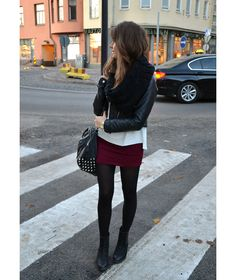 fall colored skirt and tights with ankle boots