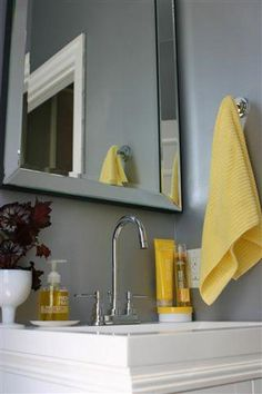 Bathroom Colors Schemes Gray - Choosing a color scheme for virtually any part of your home can be a daunting job. Fortunately, bathrooms have a tendency to be among many smallest rooms in the home, and among the simplest to embellish. Blue Powder Rooms, Modern Powder Rooms, Silver Paint Walls, Painted Walls, Yellow Bathroom Accessories, Diy Accessories, Apartment Therapy, Bathroom Color Schemes, Bathroom Colors