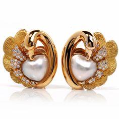 Estate Diamond Lustrous Pearl 18K Gold Heart Swan Earrings French