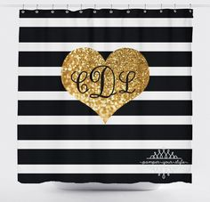 Black and Gold Personalized Shower Curtain - Simulated Gold Glitter and Black Stripes Monogrammed Sh Large Shower Curtains, Glitter Shower Curtain, Black Gold Bedroom, Black And Gold Bathroom, Glitter Hearts, Gold Glitter, Black Gold Jewelry, Nice Jewelry, Gold Rooms