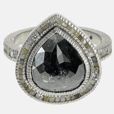 trdr405-pd-10 | Palladium, black fancy cut diamond(5.57ctw)raw diamond cubes(.81ctw), white brilliant cut diamonds(.1092ctw)