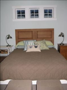 After photo of headboard we made with an old door.