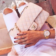 Beige Chanel Flap Bag with Gold Hardware @lovelypepa