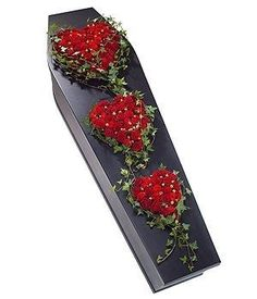 Red Rose Heart Trio - Choosing the right flowers for a funeral is often dictated… Funeral Bouquet, Funeral Flowers, Wedding Flowers, Funeral Floral Arrangements, Flower Arrangements, Cemetary Decorations, Funeral Caskets, Casket Flowers, Funeral Sprays