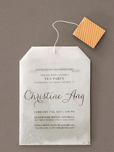 Creative bridal shower invitation idea - bridal shower tea party -tea bag bridal shower {Courtesy of Oh So Beautiful Paper} Tea Party Invitations, Bridal Shower Invitations, Shower Favors, Shower Games, Kitchen Tea Invitations, Invites Wedding, Invitations Online, Wedding Stationery, Party Favors