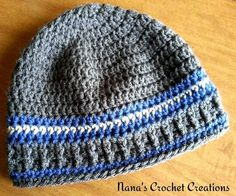 "Nana's ""Papa Beanie"". Yarn used: Vanna's Choice in Charcoal Gray, Colonial Blue and Linen. → NOTE: Using Vanna's Choice for the entire hat makes a slightly larger, ""squishier"", and stretchier beanie. ←"