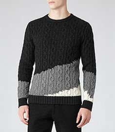 Rivers Grey Tonal Cable Knit Jumper - REISS