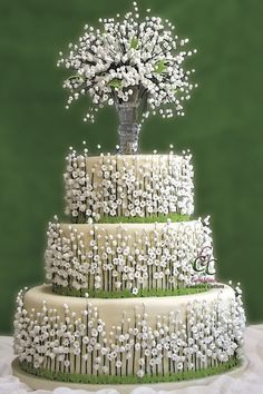 Lily of the Valley Wedding Cake Tablescape Centerpiece www.tablescapesby... www.facebook.com/...