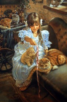 Sandra Kuck - Playful Kittens - Stretched Canvas Complete colection of art, limited editions, prints, posters and custom framing on sale now at Prints. Art And Illustration, Illustrations, Fine Art, Beautiful Paintings, Crazy Cats, Cat Art, Oeuvre D'art, Vintage Art, Painting & Drawing
