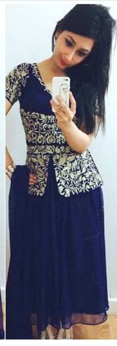 Navy blue and silver skirt suit set (lehenga set) Modern take, elegant party wear