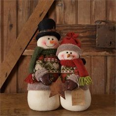 Snow Lodge - Snowman Couple With Star Faith, Family, Friends Seasonal Winter Snowmen. Polyester size x Shop Audrey's for wholesale home decor & seasonal Primitive Christmas, Rustic Christmas, Christmas Snowman, Christmas Crafts, Christmas Decorations, Christmas Ornaments, Holiday Decor, Sock Snowman, Cute Snowman
