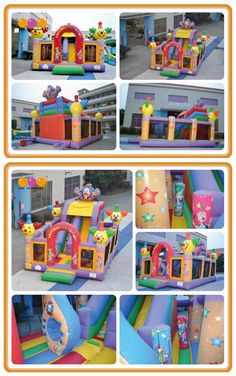 AQ01221(7X5m/22.97'*16.40') Look! There is a giant fun city with many kinds of clowns .Children can slide down and climb inside. So funny! This inflatable fun city can be widely placed in outdoor occasion like amusement parks, exercise centers, playground, yard orsome other playing centers etc.